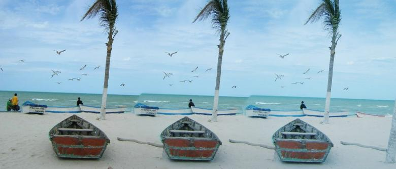 Beach at Progreso, Yucatan with small boats