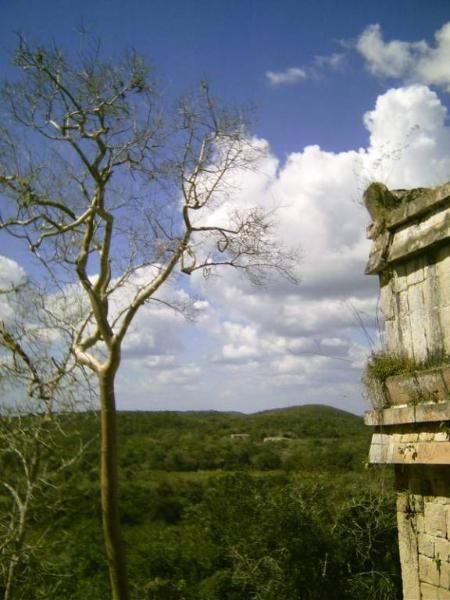 Chacmultun view from the top of ruins Yucatan